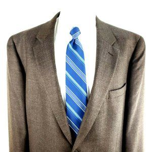 Jos A Bank 48R 2 Button Herringbone Wool Brown